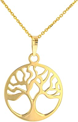 Tree of Life 14k Solid Gold Necklace White Gold Yellow Gold