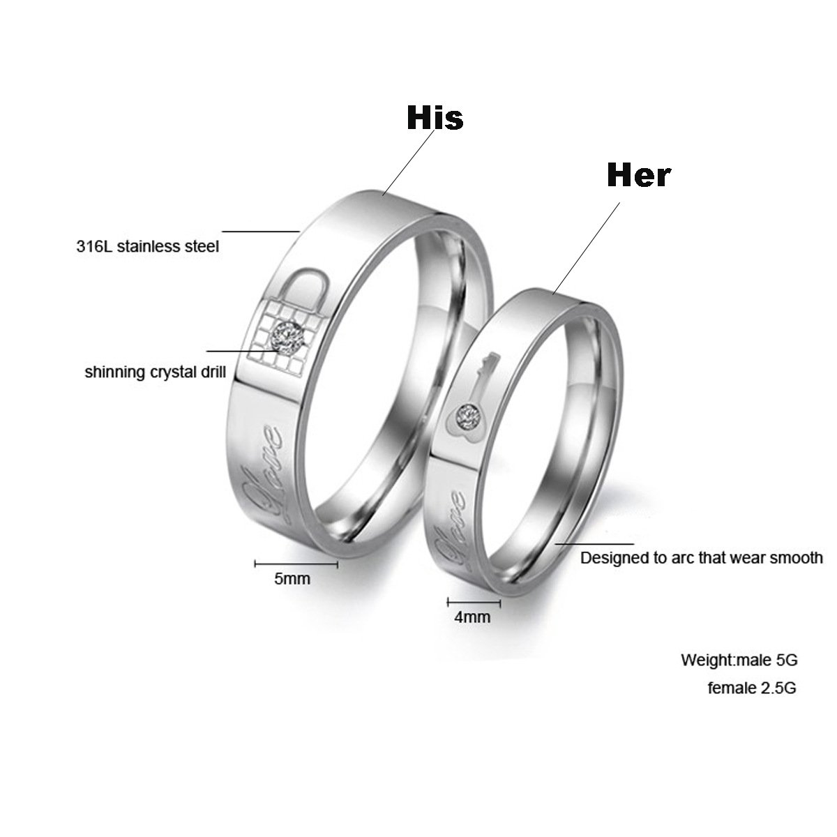 LAVUMO His Her Engagement Matching Couple Rings Stainless Steel Promise Wedding Anniversary Band Lock Key (His, 9)