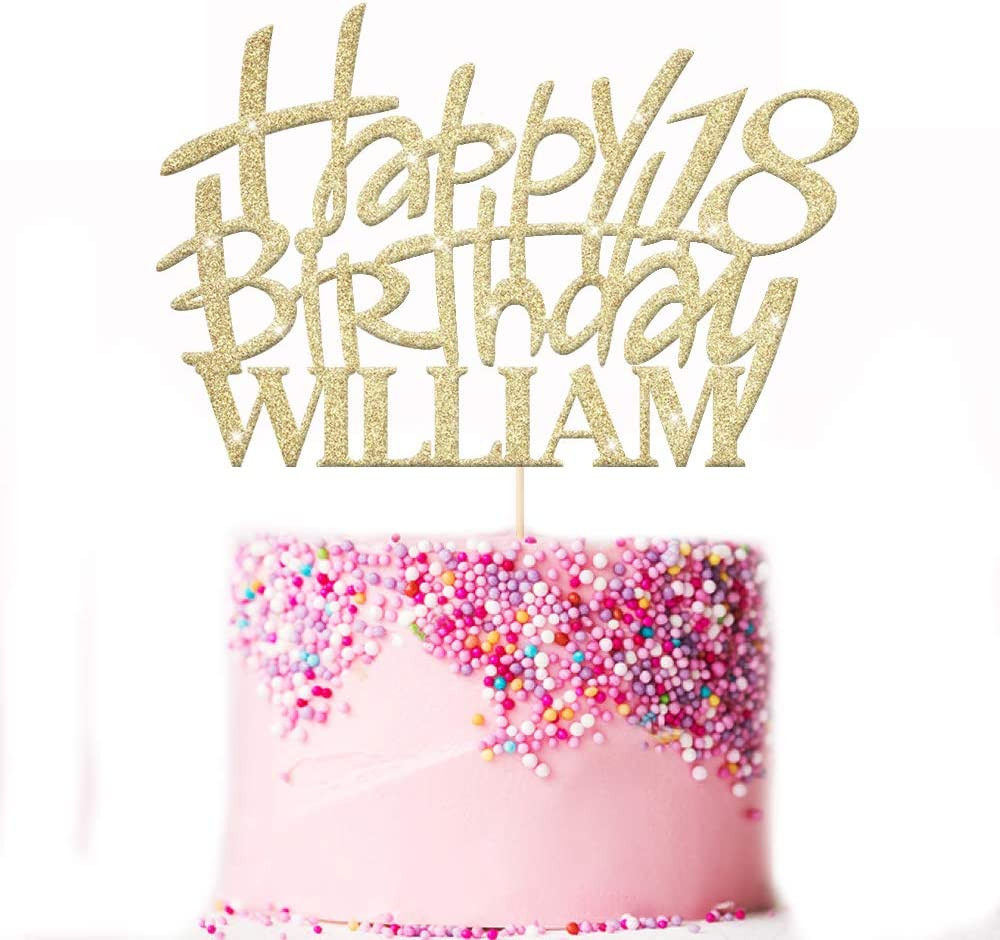 Multicolour Glitter Cake Topper 13th 16th 18th 21st 30th 50th 60th 80th Hand Finished in UK EDSG Personalised Happy Birthday Cake Topper Custom Party Decoration with Any Name Any Age