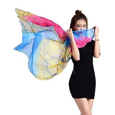 002a074b8378 YiyiLai Foulard Plage Femme Moussele de Soie Echarpe Imitation Soie  Protection Soleil Casual Eté Style