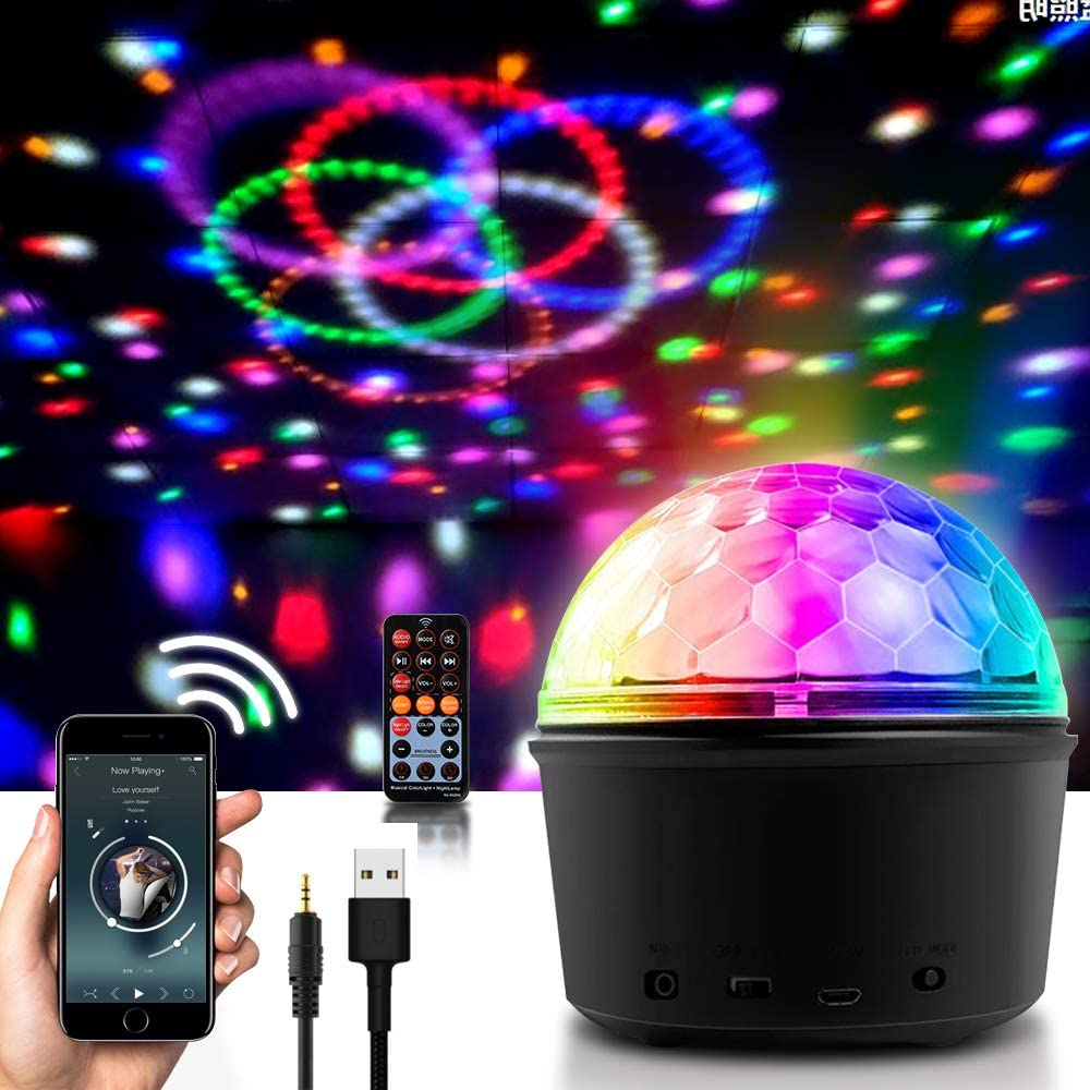 Disco Ball Bluetooth Speaker Party Dance Night Lights, Apark Stage Strobe Effects DJ Lamp with Remote Control MP3 Player and USB for Home KTV Xmas Wedding Christmas Decorations