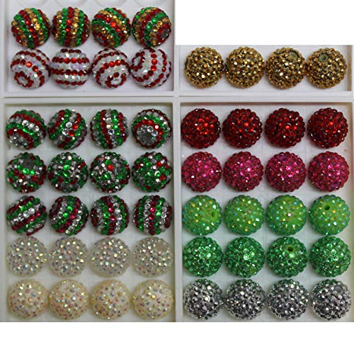 20mm Mix of 52 Christmas Theme Rhinestone Chunky Bubblegum Beads 13 Colors Resin Gumball Loose Beads Lot - Silver Resin Ball