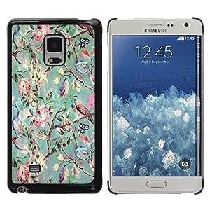 Be Good Phone Accessory // Dura Cáscara cubierta Protectora Caso Carcasa Funda de Protección para Samsung Galaxy Mega 5.8 9150 9152 // Tree Flowers Teal Drawing