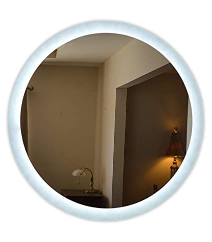 48 round mirror wood frame wall mounted lighted vanity mirror led mam2d48 commercial grade 48quot round amazoncom