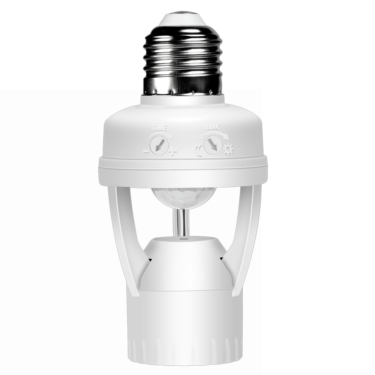 Motion Sensor Light Bulb Socket Infrared Sensor Adapter Adjustable TIME and LUX Switches Suitable for E26 E27 Base Standard Screw-in Light Bulb Socket by LUXON