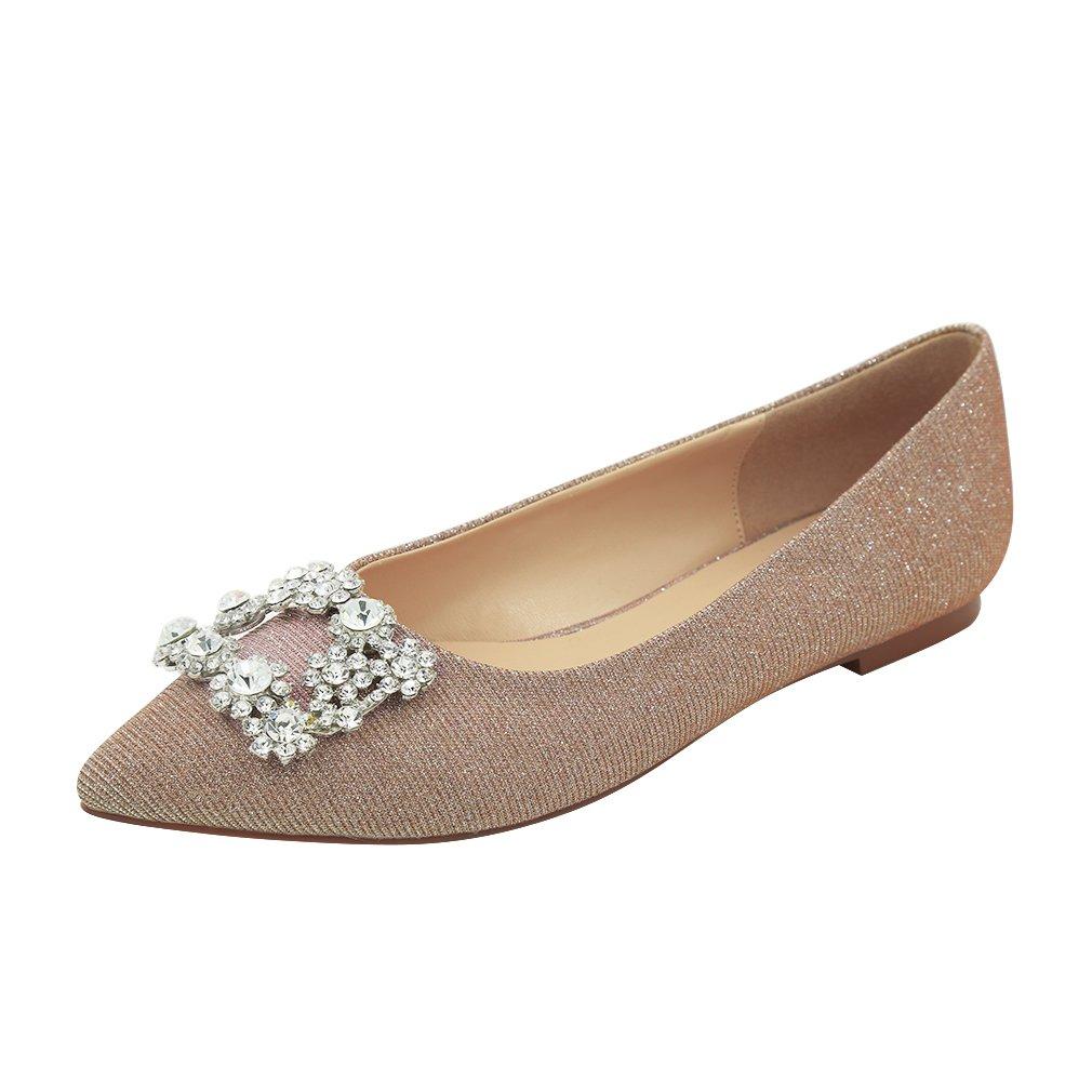 ERIJUNOR Women Comfort Pointed Toe Rhinestone Glitter Slip Ballet Wedding Flats Shoes for Bride B079BFJ8Y3 6 B(M) US|Blush