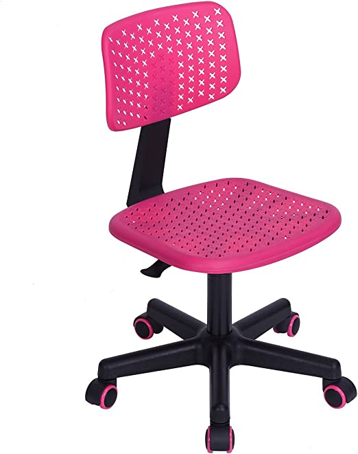 Pink Mesh Height Adjustable Chair Home or Office Swivel Student Child