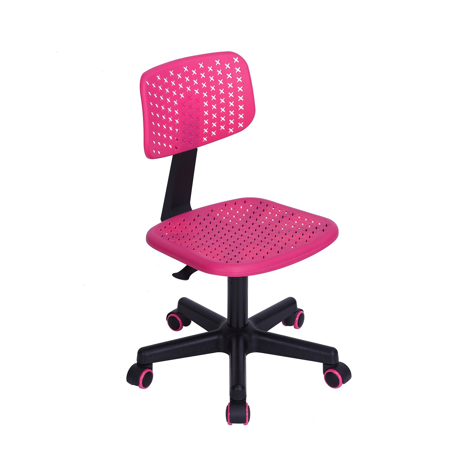 GreenForest Children Student Chair, Low-Back Armless Adjustable Swivel Ergonomic Home Office Student Computer Desk Chair, Hollow Star Pink