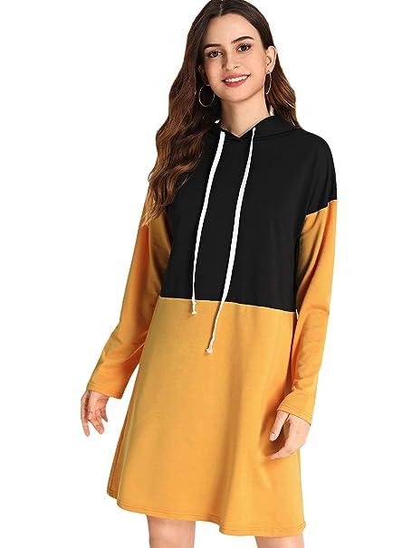 78e9513e SweatyRocks Women's Striped Long Sleeve Casual Pullover Hoodie Sweatshirt  Dress