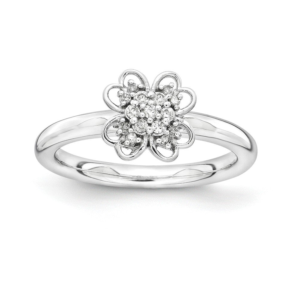 Roy Rose Jewelry Sterling Silver Stackable Expressions Diamond Flower Ring Size 9