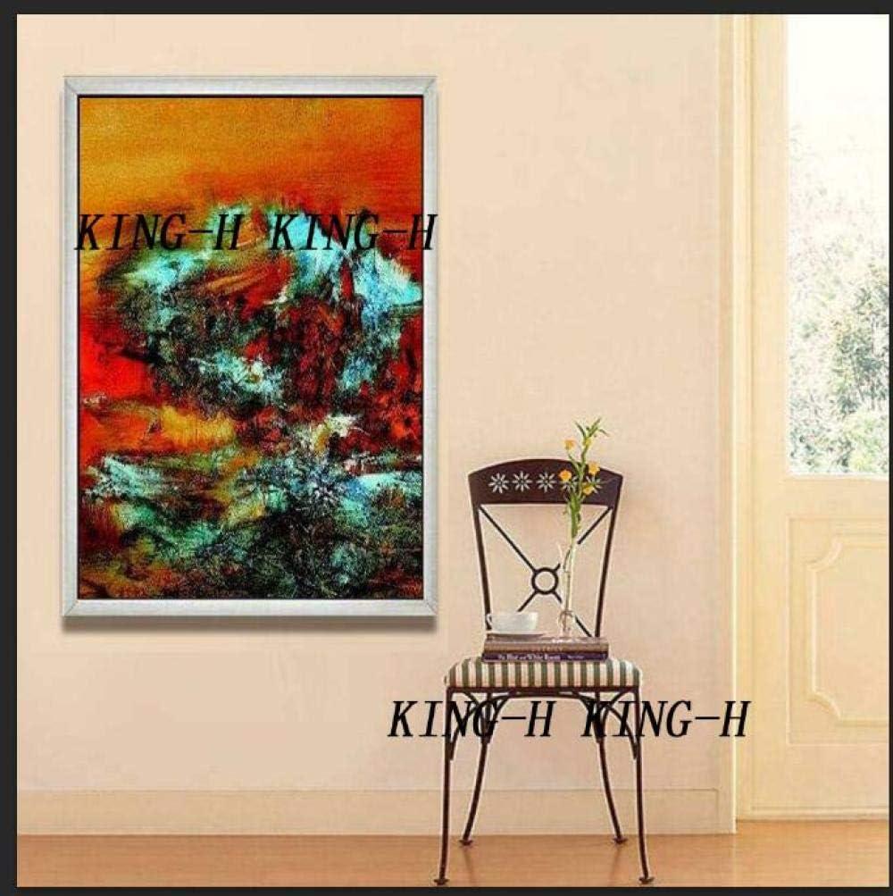 mmzki Película Pintura al óleo Decoración del hogar Pinturas murales Pintado a Mano Moderno Lienzo Abstracto Pinturas al óleo Oro Abstracto Cuadro al óleo Sala de estar-40x60CM_KH5