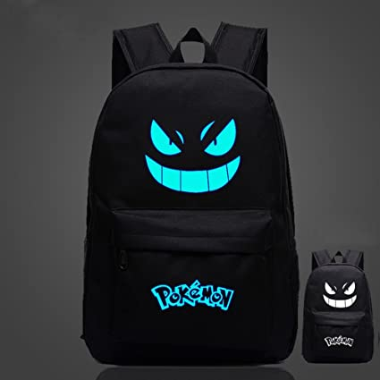 Pokemon Go negro Noctilucent luminoso mochila PU hombros