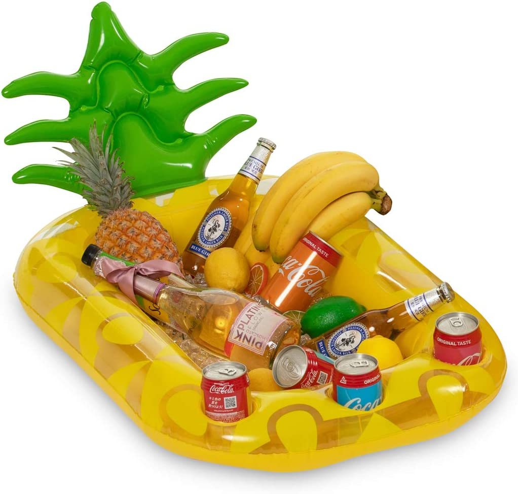 Vickea Inflatable Pineapple Drink Holder, Pool Float Party Accessories for Water Fun