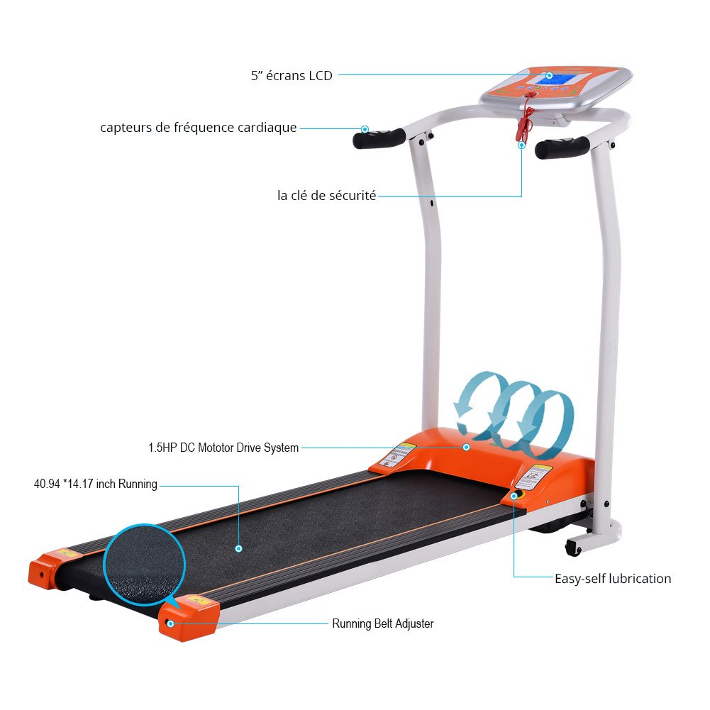Folding Electric Treadmill Running Machine Power Motorized for Home Gym Exercise Walking Fitness (1.5 HP - Orange - Not Incline) by ncient (Image #3)