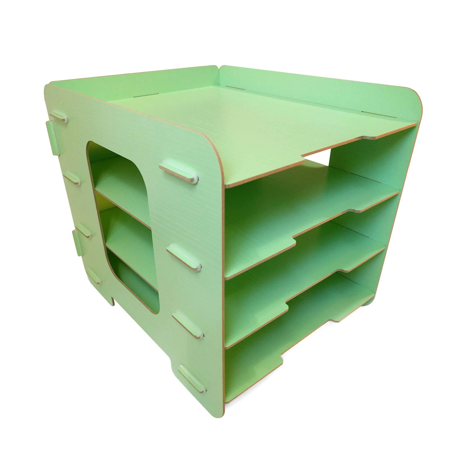 Green Desk Paper Organizer Sturdy Wood Office Letter Tray! Easy Fast Assembly A4 File Sorting 4 Tier
