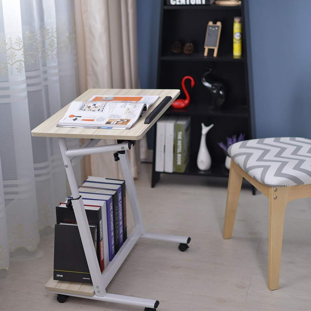 White Aimik Adjustable Portable Laptop Mobile Computer Stand Desk Cart Tray Side Table for Bed Sofa Hospital Nursing Reading Mobile Side Table with Wheels