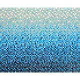 J.P. London uStrip Peel and Stick Mural MD4083PS Ocean Sea Blue Tile Style Gradient Removable Full Wall Mural, 10.5-Feet by 8.5-Feet