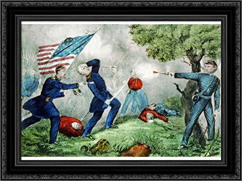 Death of Col Edward D. Baker at The Battle of Balls Bluff Near Leesburg Va. Oct. 21st 1861 1861 24x18 Black Ornate Wood Framed Canvas Art by Currier and Ives ()