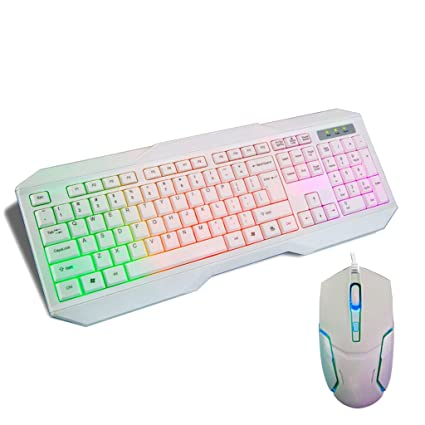 WANG Conjunto de Mouse Teclado con Cable Ergonómico 2.4G Teclado inalámbrico Mouse Colorful Backlight Combo