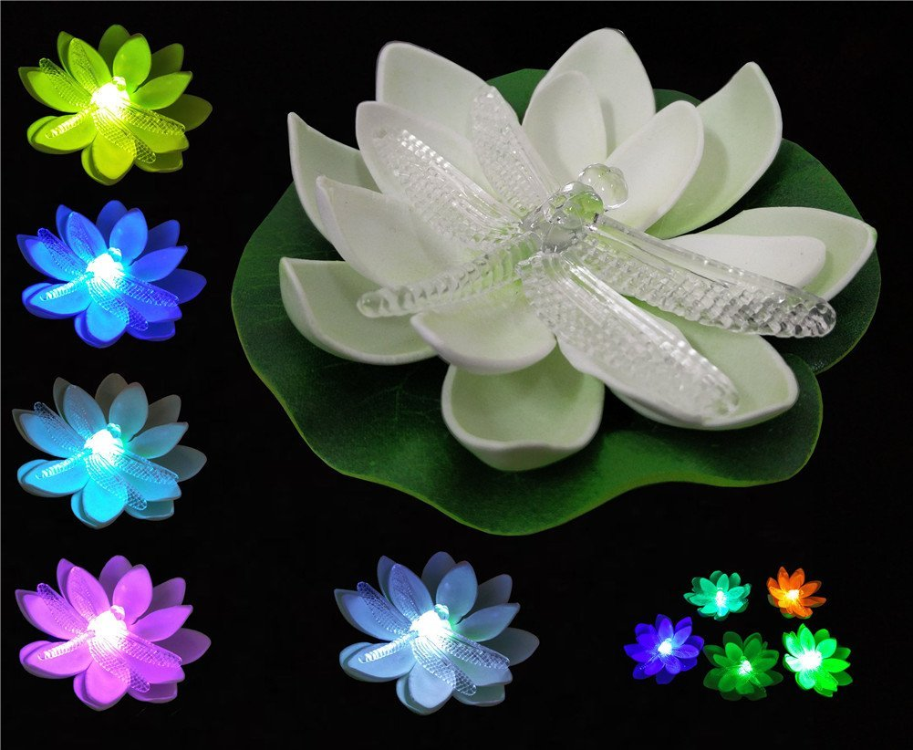 12pcs white water lily lotus flower led waterproof lights color 12pcs white water lily lotus flower led waterproof lights color changing plants battery operated decoration for night light amazon patio lawn garden izmirmasajfo