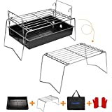 IMAGE Charcoal Grill Camp Grill Mini Grill Folding Campfire Grill Portable Grill Lightweight Steel Mesh Barbecue Grill…