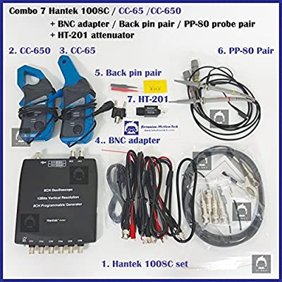 _BMT_ Combo 7 of Hantek 1008C Auto USB oscilloscope + 2 pcs PP80 Probe + 1 set CC650 + 1 set CC65 Current Clamp + 1pcs HT201 Attenuator + 1 pc BNCtoDMM adapter + 1 pair Back Pin (Win 10 compatible)