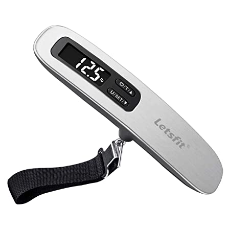 Letsfit Digital Luggage Scale, 110lbs Hanging Baggage Scale With Backlit Lcd Display, Portable Suitcase Weighing Scale, Travel Luggage Weight Scale With Hook, Strong Straps For Travelers by Letsfit