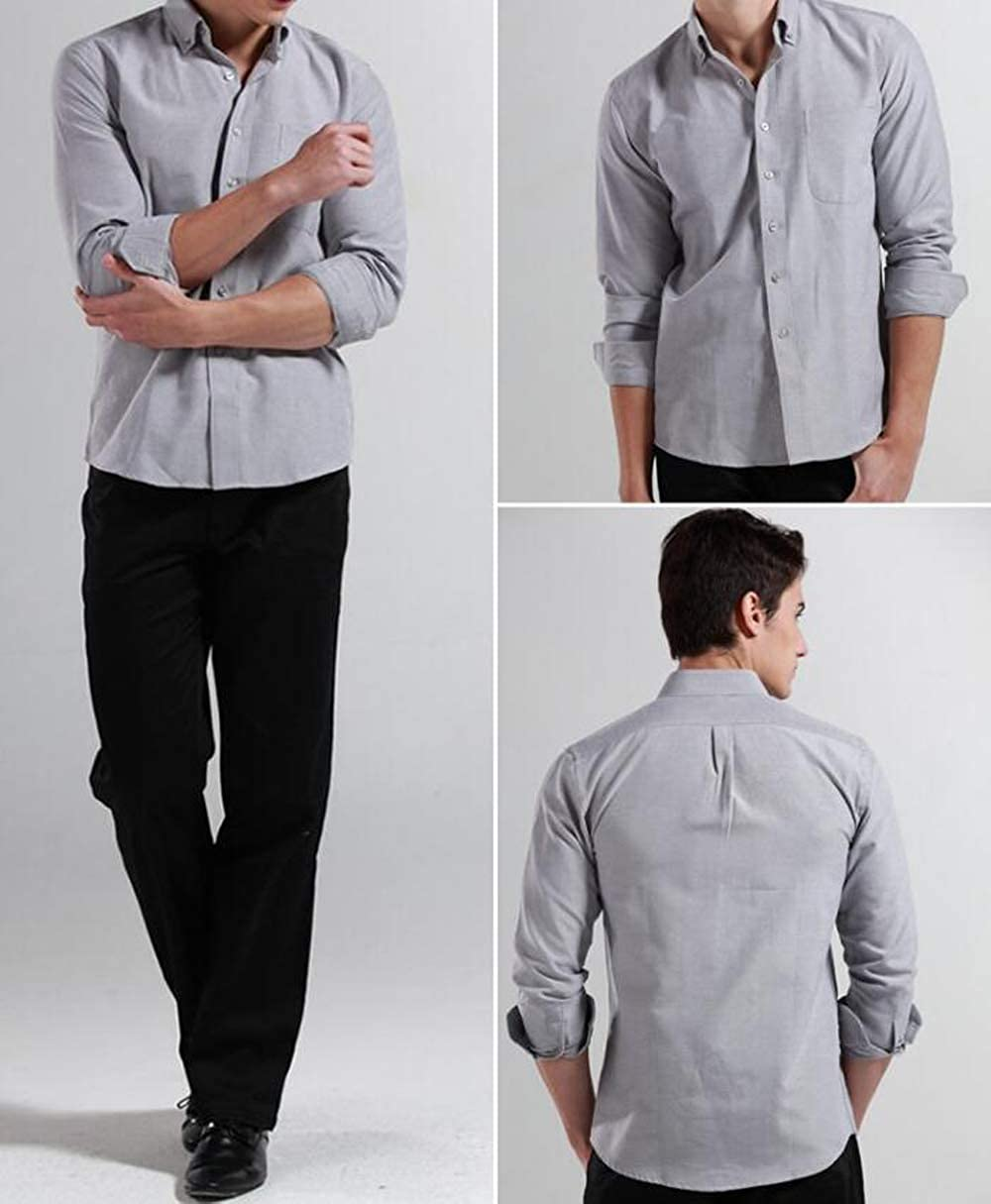 Yulain Mens Slim-Fit Wrinkle-Resistant Long Sleeve Button Down Solid Dress Shirt