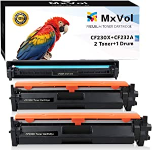 MxVol Compatible HP 30X CF230X Toner Cartridge 2-Pack and 32A CF232A Drum Unit 1-Pack, use for HP Laserjet Pro M203dw M203dn MFP M227fdw M227fdn Printer, (2 Toners, 1 Drum, 3-Pack)