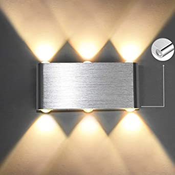 Louvra Apliques de Pared Lámpara de Pared 6W, Iluminación de Pasillo, Escalera, Dormitorio, Blanco Cálido: Amazon.es: Iluminación