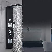 Auralum - Columna de Hidromasaje Termostático Ducha Negra Moderna 3 Función Acero Inoxidable con Pantalla LCD para Baño