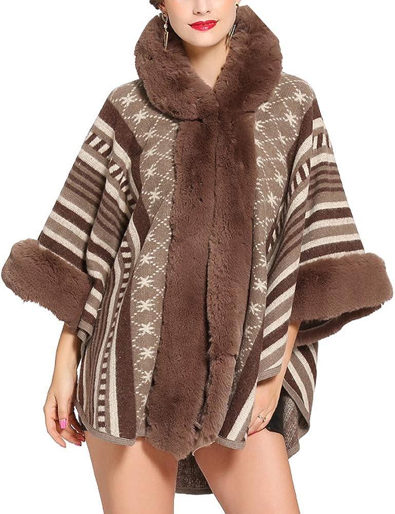 Michealboy Luxury Women Bridal Faux Fur Shawl Wraps Cloak Coat Sweater Cape in Many Colors