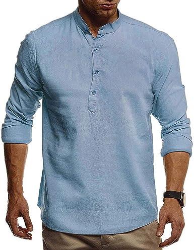 Camisa para Hombre - Moda Manga Larga Cuello Mao Casual Shirt ...