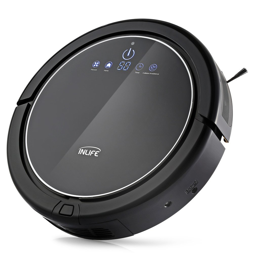 INLIFE Robotic Vacuum Cleaner Self-Charging Floor Cleaner with Drop-Sensing, Anti-Bump Technology, Water Tank, Design for Hard Floor and Thin Carpet by INLIFE