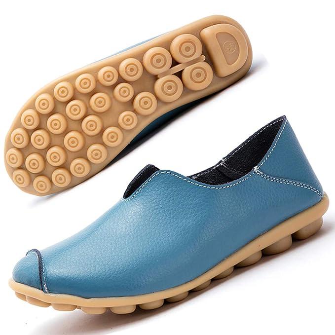 Mocasines de Cuero Mujer Casual Zapatos de Conducción Moda Loafers Verano Planos Zapatillas del Barco Zapatos Azul EU39…