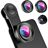 Criacr (Upgraded Version) Phone Camera Lens, 0.4X Wide Angle Lens, 180°Fisheye Lens and 10X Macro Lens (Screwed Together…
