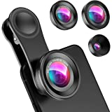 Criacr (Upgraded Version) Phone Camera Lens, 0.4X Wide Angle Lens, 180°Fisheye Lens and 10X Macro Lens (Screwed Together), Cl