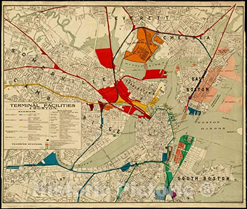 Vintage Map - 1899 Map showing the terminal facilities of Boston - Vintage Wall Art - 44in x ()