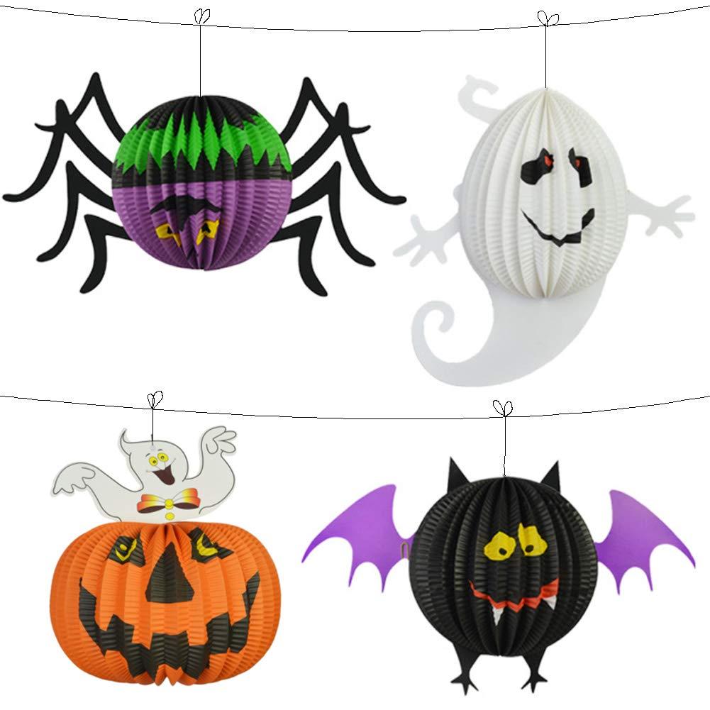 Halloween Lanterne, Halloween lanterne di carta pieghevole 3D Decorazione Hanging, a tema Halloween due misure fantasma lanterne di carta, decorazione di Halloween per famiglie, Bar, aule, uffici (2 PACK) wlzp