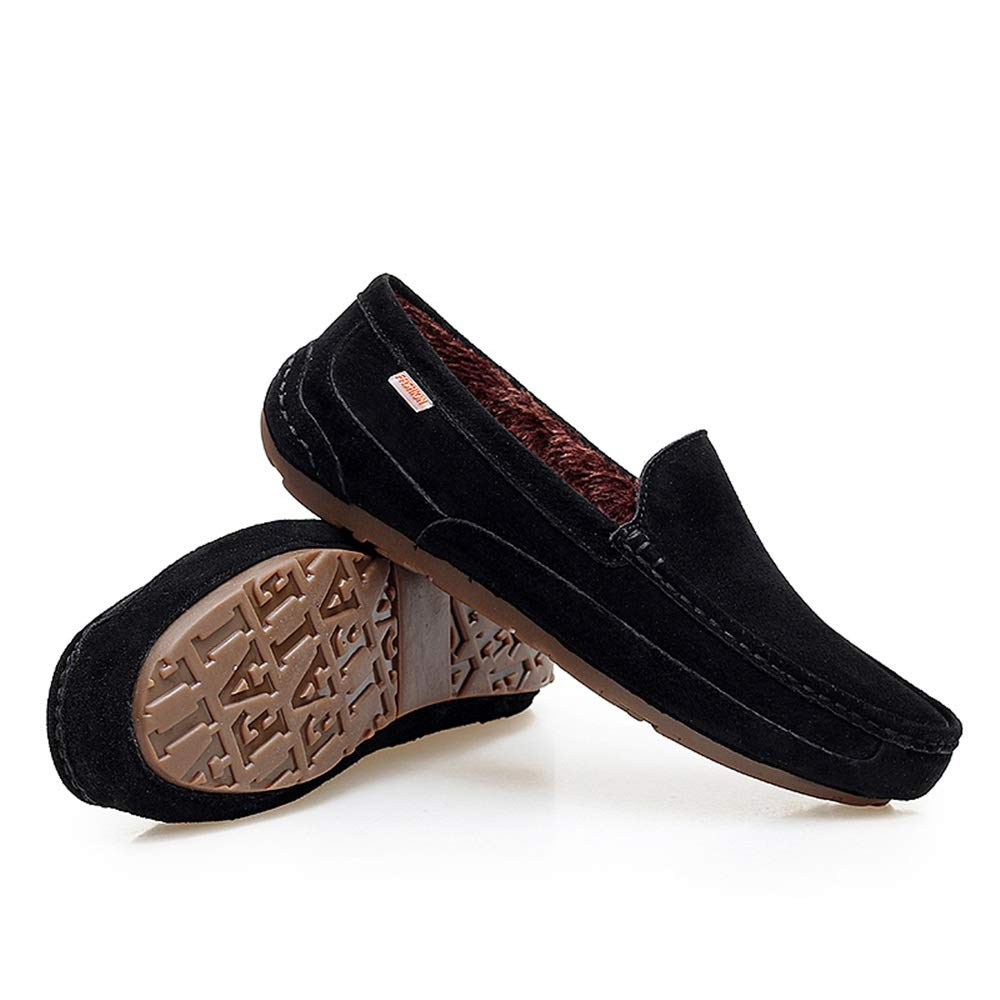 MXL Men Driving Loafers Casual Comfortable with Low Top Pure Color Winter Faux Fleece Inside Boat Moccasins