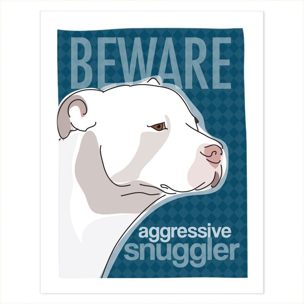60x80 Blanket Comfort Warmth Soft Plush Throw for Couch White Pit Bull Art Beware Aggressive Snuggler Pop Doggie Funny