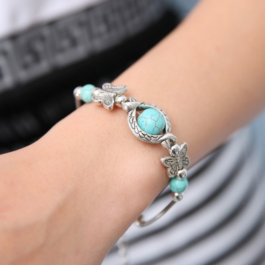 peadant VWH Natural Turquoise Carved Butterfly Pendant Bohemian Womens Bracelet Jewelry