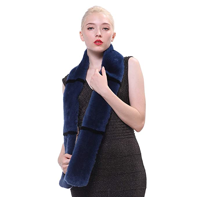 URSFUR Bufanda larga de piel de las mujeres invierno genuino rex conejo piel abrigo bufanda cuello, Azul: Amazon.es: Ropa y accesorios