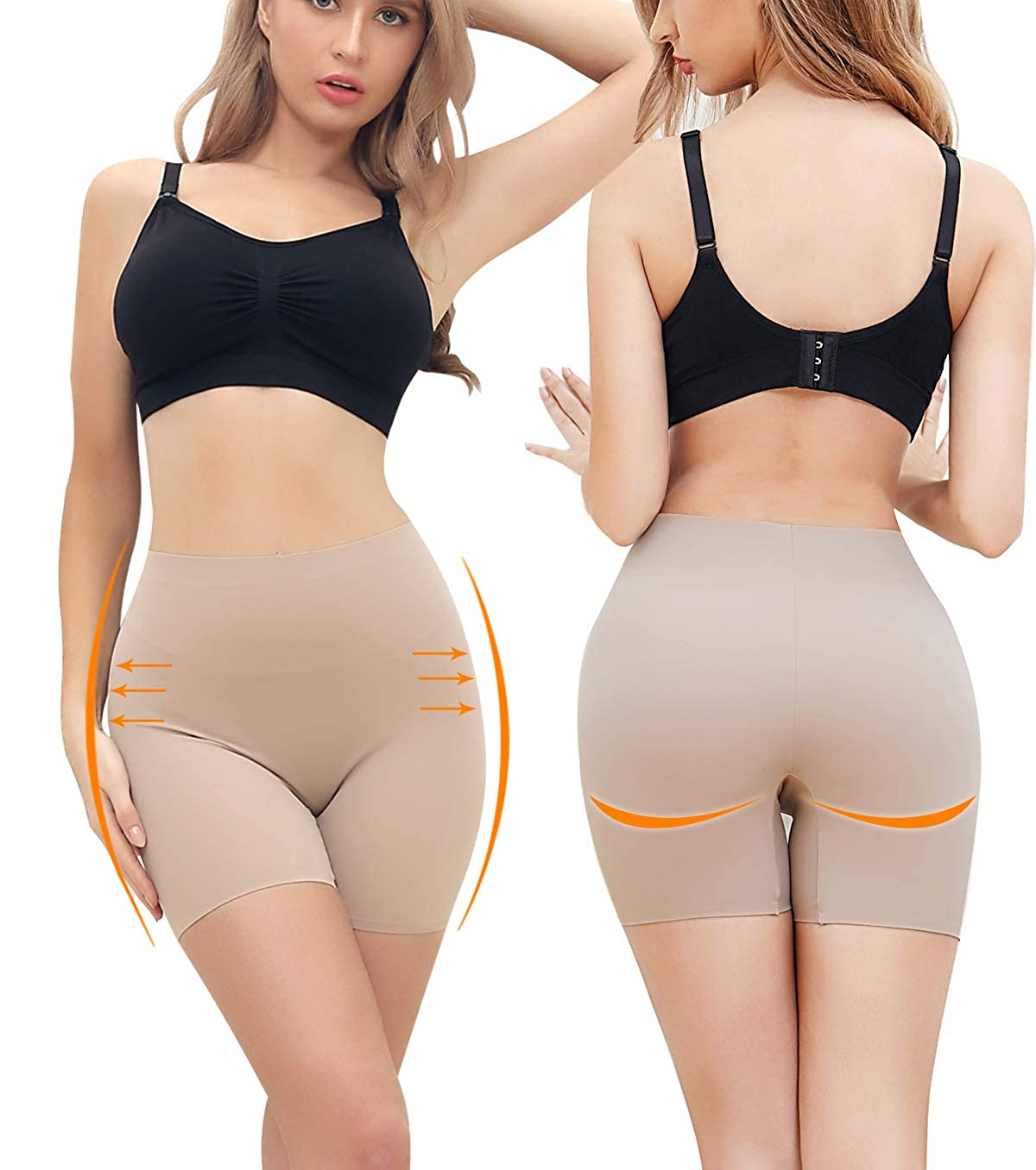 SLIMBELLE Anti Chafing Shorts Seamless Under Dress Shorts Invisible Safety Pants Stretch Underwear Smooth Slip Yoga Boxer Shorts Panty for Women