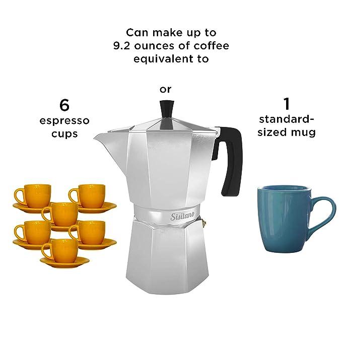 Amazon.com: Sisitano - Cafetera italiana de 6 tazas, diseño ...