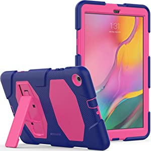 Galaxy Tab A 10.1 Case 2019, Rugged Kickstand - Shockproof Heavy Duty Hybrid Three Layer Kids Child Proof Case Cover for Samsung Tab A 10.1 Inch 2019 Tablet (SM-T510/T515/T517) - Purple Pink