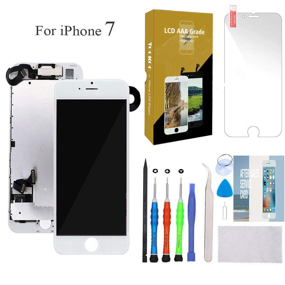 for iPhone 7 Screen Replacement 4.7'' White LCD Display with 3D Touch Screen Digitizer Full Assembly + Front Camera + Earpiece + Free Screen Protector + Repair Tools Kit (White) by SmartShop