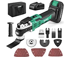 KIMO 20V Cordless Oscillating Tool Kit w/26-Piece Accessories, 21000 OPM Variable Speed & 3° Oscillating Angle, LED & Quick-C