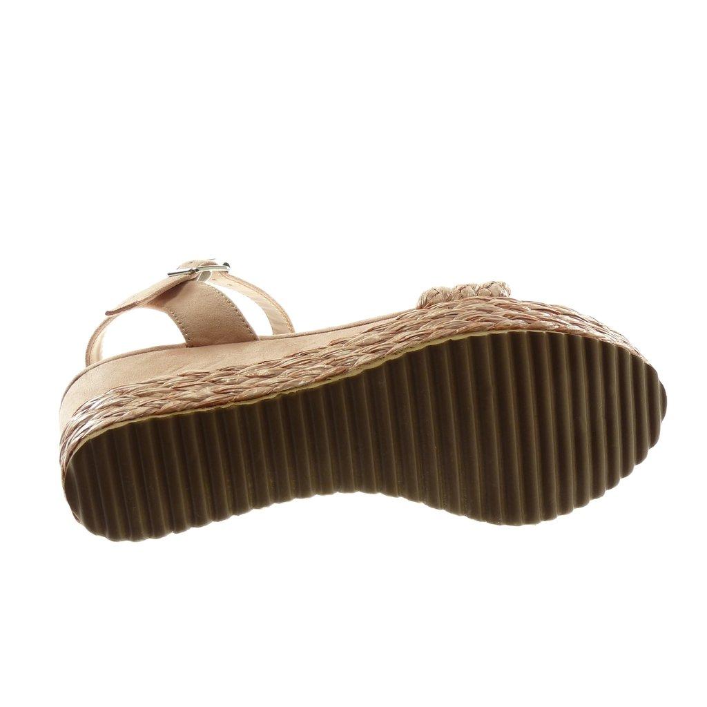 0b1acc4a83af98 ... Angkorly Chaussure Mode Sandale Mule Lanière Cheville BI-Matière Femme  Avec de la Paille Tréssé ...