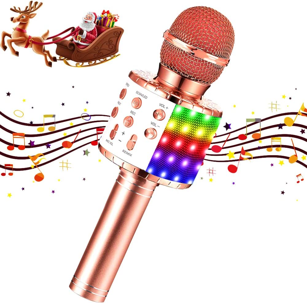 Karaoke Microphone Kids Wireless Bluetooth Portable Mic with LED Handheld Machine Children Toy Speaker Music Singing for Home Party Kid Birthday KTV Christmas Festival Gift (Rose Gold)